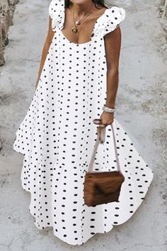 Polka Dots Print A-ligne sans Manches Robe Maxi – chiclinen linen maxi dress linen maxi dress tenue maxi dress Polka Clés Print A-ligne rien Manches Laine Maxi – chiclinen linen maxi couleur lin… Casual Dresses, Casual Outfits, Summer Dresses, Polka Dot Print, Polka Dots, Creation Couture, White Maxi, Collar Dress, Simple Outfits