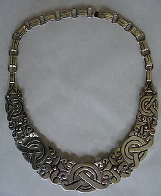 Taxco Sterling Silver Necklace ~Mayan Cross~ Patino (item #1020956)
