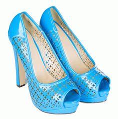 Pantofi Dama Summer  -Pantofi dama perforati  -Detaliu decupati  -Toc  14,5cm  -Platforma 5cm Peeps, Peep Toe, Mood, Blue, Shoes, Fashion, Moda, Zapatos, Shoes Outlet
