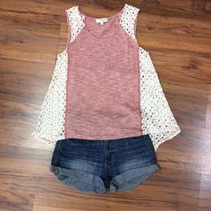 We are loving all of our new arrivals! This blush trixie tank is perfect with a pair of blue jean shorts! :) #styledbyBreanna