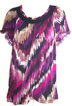 East 5th Plus Size Top 1X Purple Fushia Artsy Stretch Ruffle Neck Babydoll Tunic