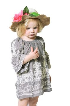 Mommy and Me Embroidered Top with Smocked Sleeves-Child Size
