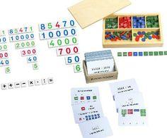 Maria Montessoris Markenspiel im Set mit Zahlenkarten und Arbeitskartei.