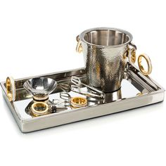 John-Richard Golden Ring Bar Set - Set of 6 (€625) ❤ liked on Polyvore featuring home, kitchen & dining, bar tools, golden tray, hammered tray and hammered ice bucket