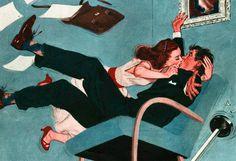 Ilustração de Fred Irvin, Colliers Magazine, 1949.