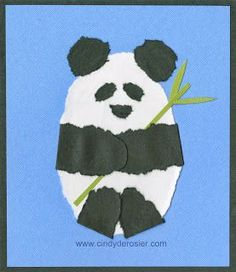 How to make a Panda with construction paper and a wet cotton swab by Cindy deRosier: My Creative Life: Our Giant Panda Project