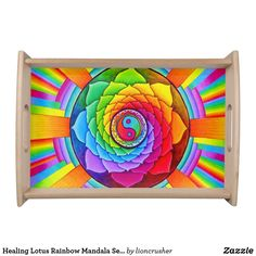 Healing Lotus Rainbow Mandala Serving Tray by Rebecca Wang on Zazzle.  Entertain in style with this customized serving tray! Printed in full color, the serving tray comes in two sizes with a black or natural wood finish.