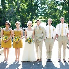 I like the groom in a jacket and the men in just shirts and suit pants... but maybe vests, too?