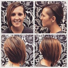 Cute short cut on Courtney, with a side shave. Cut by Andrea. Side Shave, Shaved Sides, Cute Shorts, Short Cuts, Shaving, Salons, Hair Beauty, Hairstyles, My Style