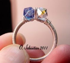 Really cute Swarovski ring by Karen Snyder of O. Sebastian Chainmaille Creations