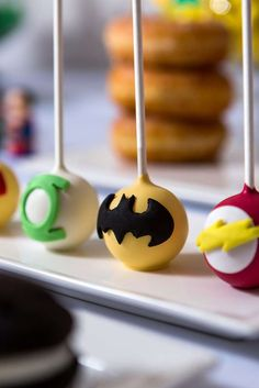 Awesome cake pops at a superhero birthday party! See more party ideas at CatchMyParty.com!