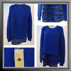 Michael Kors Blue Zebra Print Sweater Gorgeous cobalt blue sweater in a cotton blend by Michael Kors features a crew neck, long sleeves and a animal print bottom Michael Kors Sweaters Crew & Scoop Necks
