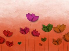 Colorful Flowers Digital Art Wallpaper, HD Flowers Wallpapers, Images, Photos and Background Free Desktop Wallpaper, Star Wallpaper, Original Wallpaper, Flower Wallpaper, Wallpaper Backgrounds, Red Tulips, Yellow Flowers, Colorful Flowers, Deer Sketch