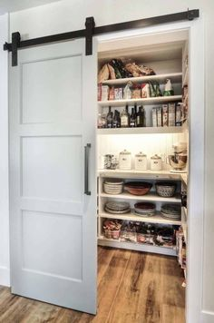 Modern pantry design with an elegant sliding barn door [Design: Dwellings Design Group] Jillian Harris, Modern Room, Modern Bathroom, Bathroom Ideas, Master Bathrooms, Modern Barn, Kitchen Modern, Simple Bathroom, Modern Decor
