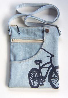 Bicycle Pouch Shoulder Bag Recycled Jeans by kackleboan on Etsy
