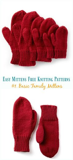 Basic Family Mittens Knitting Free Pattern - Easy Free Patterns Quick & Easy Mittens Free Knitting Patterns: Classical Mittens, Traditional Mitten gloves, simple knitting mittens, mitts gift all sizes, kids and adults Baby Knitting Patterns, Crochet Mittens Free Pattern, Loom Knitting, Free Knitting, Simple Knitting, How To Knit Mittens, Knit Crochet, Crochet Gloves, Knitting Needles