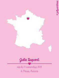 Affiche de naissance personnalisée unie - France  : Affiches, illustrations, posters par ju2framboise sur ALittleMarket