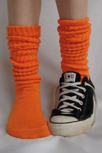 Cotton Slouch - If you're going to wear slouchy socks, they should be loud. Frilly Socks, My Socks, Awesome Socks, Cool Socks, Slouch Socks, Orange Socks, Calf Length Skirts, Orange You Glad, Colorful Socks