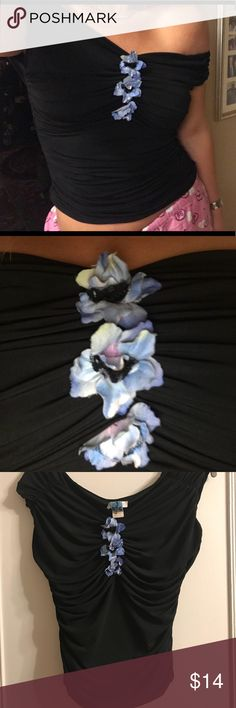 Black ruched off the shoulder Cache shirt Black and ruched from Cache. Can be worn on or off the shoulder. Blue flowers in middle of chest. Cache Tops Blouses