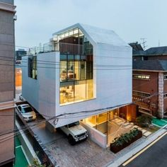 Gallery of Atelier Chaeyeon / L'eau Design + Dongjin Kim - 13 Roof Architecture, Residential Architecture, Architecture Details, Design Exterior, Facade Design, Small Buildings, Modern Buildings, Facade House, Modern House Design