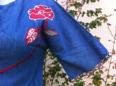 Vintage 60s denim jean embroidered flower power by aliciaanais, $15.00