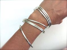 Set of 7 handmade sterling silver bangle by lanuevapulseria