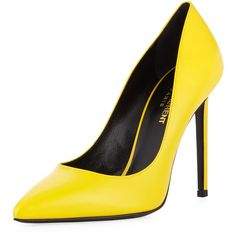 Saint Laurent Paris Leather 105mm Pump (2.550 RON) ❤ liked on Polyvore featuring shoes, pumps, heels, yellow, pointed toe high heels stilettos, yellow heels pumps, stiletto heel pumps, yellow pointed toe pumps and yellow high heel pumps
