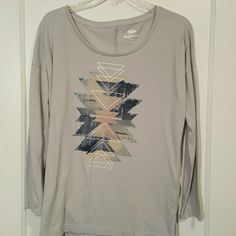 """""""Boyfriend"""" long-sleeved shirt XS Old Navy shirt!! Center says """"So long as it's wild."""" I like this shirt and I know its supposed to be big but not my style. Also, its lightly worn. Old Navy Tops"""