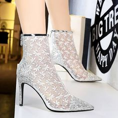 Lace Ankle Boots, Black Heel Boots, Calf Boots, White Shoes, Knee High Boots, Ankle Booties, High Heels, Silver Outfits, Silver Boots