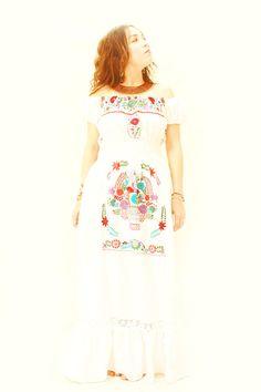Aura Mexican embroidered dress fiesta wedding white cotton long ruffled maxi dress off shoulder by Aida Coronado Mexican Embroidered Dress, Embroidered Dresses, Vintage Mexican Wedding, Mexico Dress, Mexican Fabric, Mexican Designs, Mexican Dresses, Maxi Styles, Designer Dresses