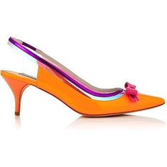 Lucy Choi London Clancy Sling Back Bow Heel (550 BGN) ❤ liked on Polyvore featuring shoes, orange, orange shoes, bow shoes, sling back shoes and slingback shoes