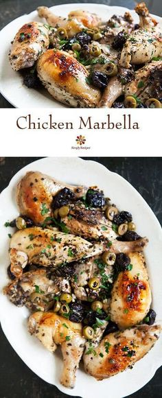 Chicken Marbella ~ Chicken marbella recipe, classic chicken party dish, chicken cooked with white wine, prunes, green olives.  Adapted from the Silver Palate Cookbook. ~ SimplyRecipes.com