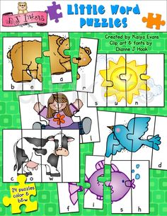 Cute printable word puzzles for kids. Created by Kaiya Evans using clip art by DJ Inkers