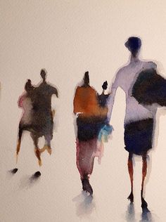 Serie on the subject of the blur, different perception of everyday scenes. Painting People, Figure Painting, Painting & Drawing, Art Inspo, Painting Inspiration, Watercolor Sketch, Abstract Watercolor, Arte Sketchbook, Art Et Illustration