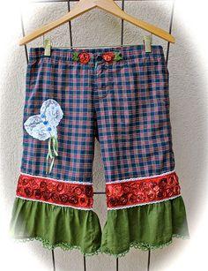 Boho Romantic Rustic Pantaloons Bloomers Bed Of Ribbon Roses Rustic Cowgirl Chic Mori Girl Size XS