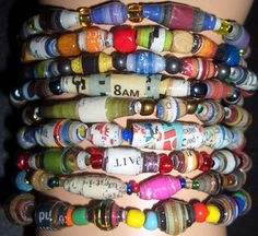 Upcycled Magazines, Junk Mail, Newspapers and Comic Books  Wholesale Lots of 12 to 108 Paper Paper Bead Stretch Bracelets are now available in my ReInnovations Upcycle Ebay Store