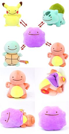 These Ditto plushies can actually transform! The reversible plushies have a zipper on the bottom so you can turn the them inside out and transform Ditto into another Pokemon! Or at least a poor image of another Pokemon. Pokemon Mew, Pokemon Ditto, Pokemon Craft, Pikachu, Kawaii Plush, Cute Plush, Sewing Stuffed Animals, Stuffed Animal Patterns, Plushie Patterns