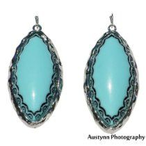Young & The Restless ~ Nikki Newman ~ Turquoise Silver 2.5 inch Oval Stone Dangle Fashion Jewelry Earrings