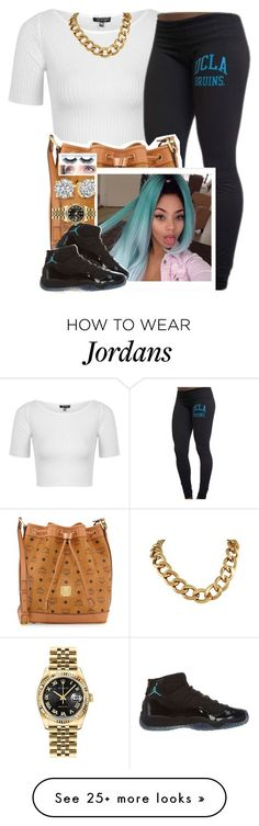 """✨"" by newtrillvibes on Polyvore featuring Topshop, MCM, NIKE and Rolex"