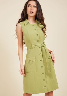 Engaging Editorialist Shirt Dress in Pear. Youre known for captivating opinion pieces, and your next publication about this green shirt dress from our ModCloth namesake label may just be your magnum opus! #tan #modcloth