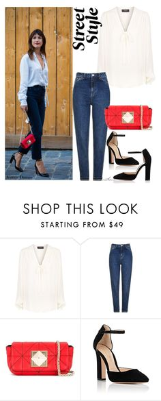 """""""Tie Neck Blouse + High Waist Jeans"""" by arethaman ❤ liked on Polyvore featuring Theory, Topshop, Sonia Rykiel and Gianvito Rossi"""