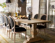 Black linen Louis chairs