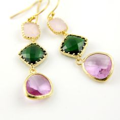 Trio Connector http://www.etsy.com/treasury/MTA5MjEwMTJ8MjcyMDE1ODM1Mw/unique-gift-guide-for-mothers-day Briolette Earrings Pink Opal by anatoliantaledesign, $36.00