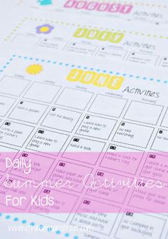 Summer activity calendar for Kids; includes a printable calendar of June/July/August... enough ideas to make your own, too
