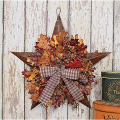 Autumn Leaves Barn Star - TerrysVillage.com