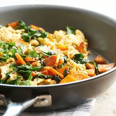 Make this unique egg scramble with sweet potato for a healthy breakfast or brunch dish. Start to finish only takes 35 minutes for this healthy meal. Eggs make this a high protein meal and sweet potatoes add in lots of healthy nutrients.