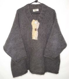 Sue P Knits One Size OS Sweater Lagenlook Boxy OVERSIZED Mohair Dropped Shoulder  | eBay