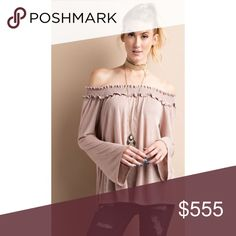 New Year Sale 🎊 Mocha Off Shoulder Top high quality boutique off the shoulder top, very soft and not cheap or scratchy feeling • 70% rayon / 30% polyester, made in USA • bell sleeve • available in S, M, L • no tags as item is purchased directly from the vendor • price firm unless bundled Tops
