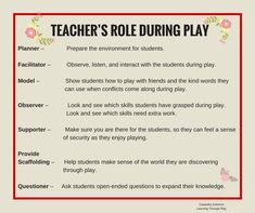 The role of the teachers in this pin is divided into seven topics: a planner, . - The role of the teachers in this pin is divided into seven topics: a planner, a faci … – play i - Preschool Classroom, In Kindergarten, Preschool Activities, Inquiry Based Learning, Early Learning, Student Learning, Emergent Curriculum, Learning Stories, Learning Through Play