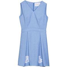 Yanina Square Pleated Mini Dress ($1,135) ❤ liked on Polyvore featuring dresses, light blue, blue dress, eyelet lace dress, blue mini dress, v neck short dress and blue pleated dress